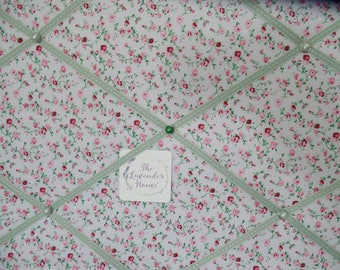 CLEARANCE fabric noticeboard - pink green photoboard - green ribbon, bulletin board - fabric board
