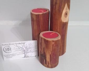 Set of three rustic cedar cane holders!! TEALIGHT holders, cabin decor