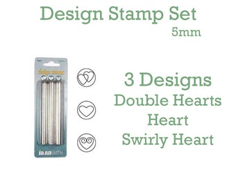 Heart Metal Design Stamp Set of 3 - 5mm - Double Heart Design, Heart Design, Swirly Heart Design - BeadSmith - Add some flair to your design