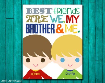 Brothers Wall Art. Best Friend Brother Sign. Brothers Decor. Playroom Decor. Brother Playroom Wall Art. Boy Shared Room Decor. Brothers Sign