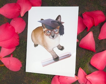 Kitty Grad Printable Graduation Card, Cat Graduation Card