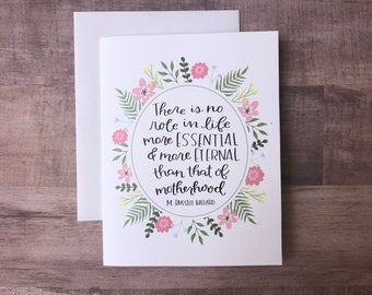 Motherhood is Essential LDS Quote Printable Mother's Day A2 Card