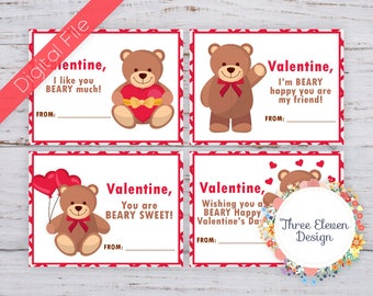 Teddy Bear Printable Valentine's Cards