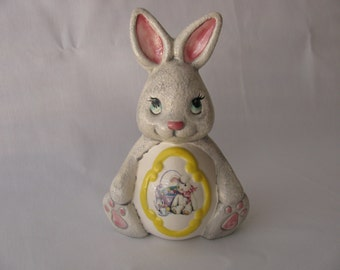 Egg Belly Easter Bunny with Yellow Glaze Ceramic FIgurine