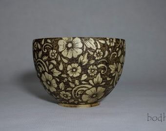 Pyrography Bowl - Wood Bowl - Wooden Bowl - Decorative Wood Bowl