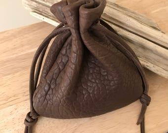 Men's Drawstring Leather Pouch Bag, Large Pouch Bag, Drawstring Bag, Coin Pouch, Sack Bag, Jewelry Pouch, Handmade Leather Pouch, Handmade
