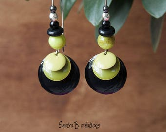 Earrings long sequin black, Khaki, lime and silver
