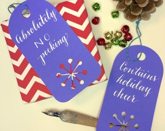 Hand Lettered Holiday Gift tags (set of 8)