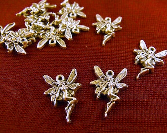Silver Fairy Charms, Lot of 20, Jewelry Making Supplies