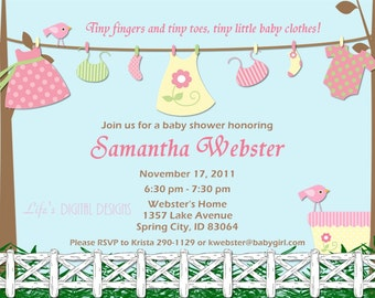 Baby Shower Invitations for Girl Baby Clothes Pink and Yellow Baby Girl Laundry Clothesline Outside Scene Customizable Printabl