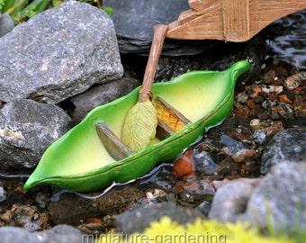 Pea Pod Canoe for Miniature Garden, Fairy Garden