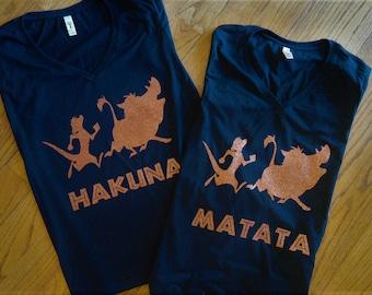 Disney Lion King Inspired Hakuna Matata shirt set; Family disney lion king shirt set;  Timone and Pumba Silhouette t-shirt set