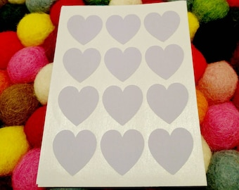 30 Purple Heart Stickers -  Cardmaking, scrapbooking, favours, invitation seals, envelope seals