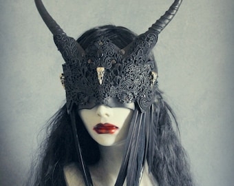 Veiled Raven Witch mask