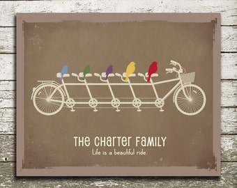 Custom Family Tree Print - Personalized Birds on a Bicycle to Represent Family Members - As Seen in Pregnancy and Newborn Magazine