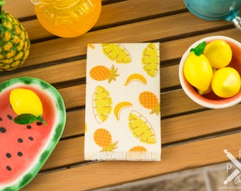 Miniature Tropical Bananas and Pineapples Tea Towel - 1:12 Dollhouse Miniature