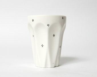 white cup pattern black teacup coffee mug hand painted drawing by eeliethel