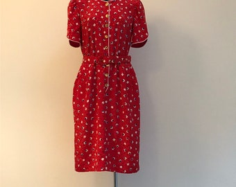 Princess Diana Mood Dress 1990's Vintage Red Square print Dress Silky Summer Dress Romantic Dress Bell Short Sleeve Vintage Dress M Size