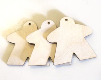 """Meeple Cutout, Wooden Set of 3, Board Game Ornament Blank, Wooden ornament, paint, unfinished, 2.5"""" ornament, board game ornament"""