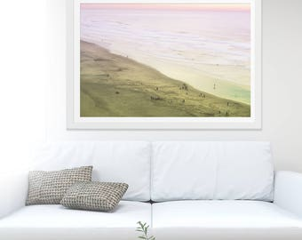 "California Dreamin' Beach Photography // Ocean Beach San Francisco // Large Beach Photography // Purple Pink Yellow Lime // ""Sunday Sunset"""