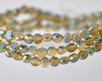 Rondelle Crystal Glass Faceted beads Matte 4mm Amber Green -(MB04-7)/ 95pcs