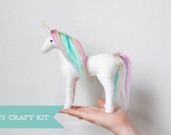 Unicorn Sewing Kit * Make Your Own Stuffed Unicorn * DIY Craft Kit Felt Animal Pattern * Handmade Unicorn Plush. Crafters Gift. DIY Kit.