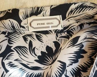 Vintage shirt blouse silk seta floral print baskinka dress jacket