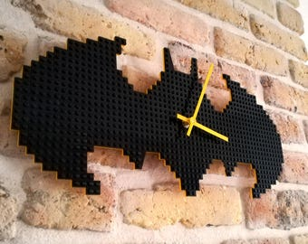 Clock made of LEGO bricks - Batman // Geek gift