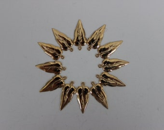 Set of Twelve Tiny Gold Plated Leaf Findings