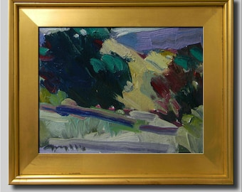 Landscape Painting, Original Impressionist Oil, Tree Painting, Plein Air Path, Abstract Hills Painting