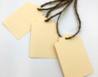 Ivory Gift Tags, Handmade Set of 6 with Jute Cord