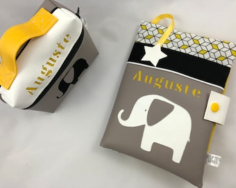 Gift box with protects health book and lunch box elephant yellow gray and white