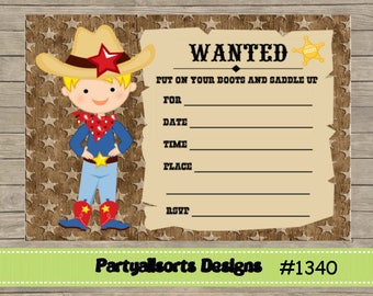 Diy indian and cowgirl joint birthday invitations diy fill in yourself cowboyboywestern party childrens birthday invitation solutioingenieria Choice Image