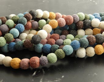 40 multicolor 10mm natural lava beads