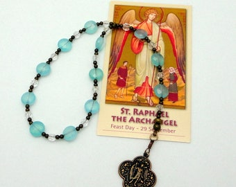 Raphael the Archangel Catholic Chaplet Rosary in Blue Opal Czech Glass with Bronze Medal