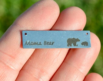 1 Stainless Steel Mama Bear Connector Charm SC5255