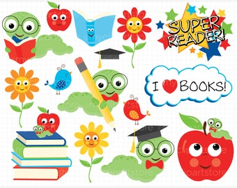 Back To School Clipart - Book Worm, books, apple, kids - vector graphics, digital clip art, digital images, commercial use clipart