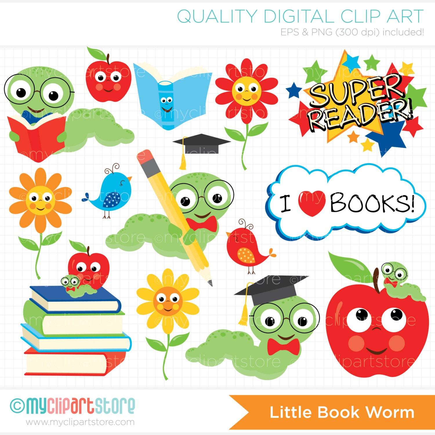 back to school clipart book worm books apple kids rh etsy com digital clipart for commercial use digital clipart for teacher