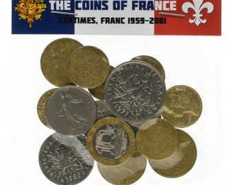 Lot of 15 - 100 France Coins Francs Centimes Pre-Euro French Coins
