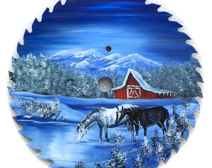 Hand Painted Saw Blade Mountain Winter Scenery with Red Barn Horses