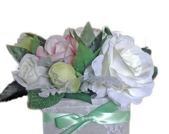 Artificial Floral Arrangement of Classical roses, Peonies and dusty green foliage.
