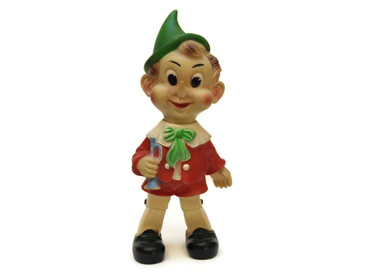 Vintage Pinocchio Doll. Vintage Rubber Squeak Toy. Ledra