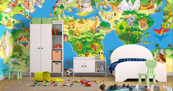 Wall mural great and funny childrens cartoon world map 1 like this item gumiabroncs Choice Image