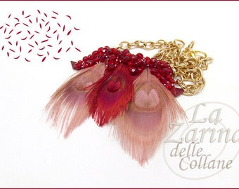 """Feather and embroidery Statement necklace-""""Marsala"""""""