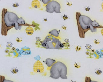 Honey bee bear, teddy bear, yellow gray white, beehive, honey bear baby flannel, by the yard