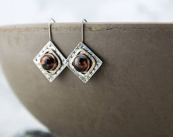 Square mixed metal earrings, lamp work glass, hand stamped and textured patina, handmade, nickel free jewelry
