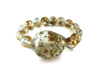Chunky Stretch Bracelet Clear and Gold Glass Beads, Gold and Clear Resin Bracelet Stone Shaped Focal with Round Glass Beaded Design