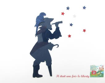 Applied fusing Pirate and parrot in Navy Blue flex + flex glitter iron on patch pirate pattern fusible pirate coat