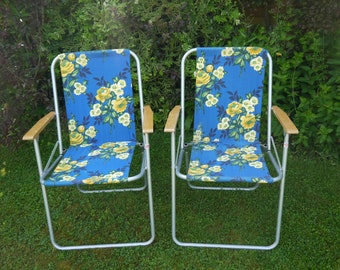 Pair of Original Retro Deck Chairs - Vintage Deck Chairs - Pair of Vintage Deck chairs - Deck Chairs - Steel Frames - Garden Chairs - chairs