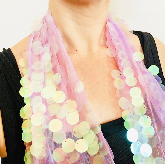 Hologram Icon Superstar Scarf - Millie Bobby Brown Coachella glitter - Sequin Clothing - Boho Scarf - Women Scarf - Festival Wrap - Gift Her